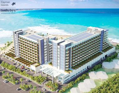 Rendering of Grand Hyatt, Grand Cayman from over West Bay Road