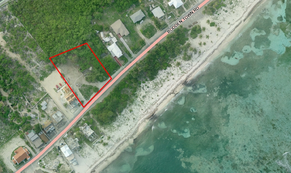 Aerial view showing lot boundary of Bodden Town Land for sale