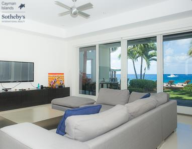 Living room at SeaView with view out towards Caribbean Sea