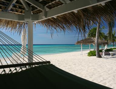 Hammock under cabana at Aqua Bay Club, Seven Mile Beach