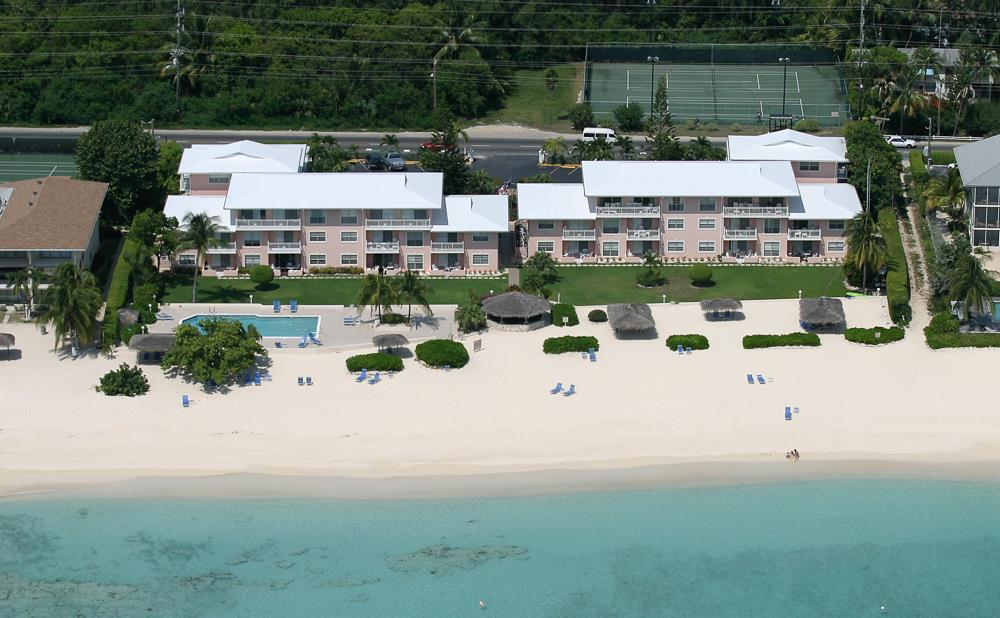 Christopher Columbus condos, aerial view from over Caribbean Sea of Seven Mile Beach