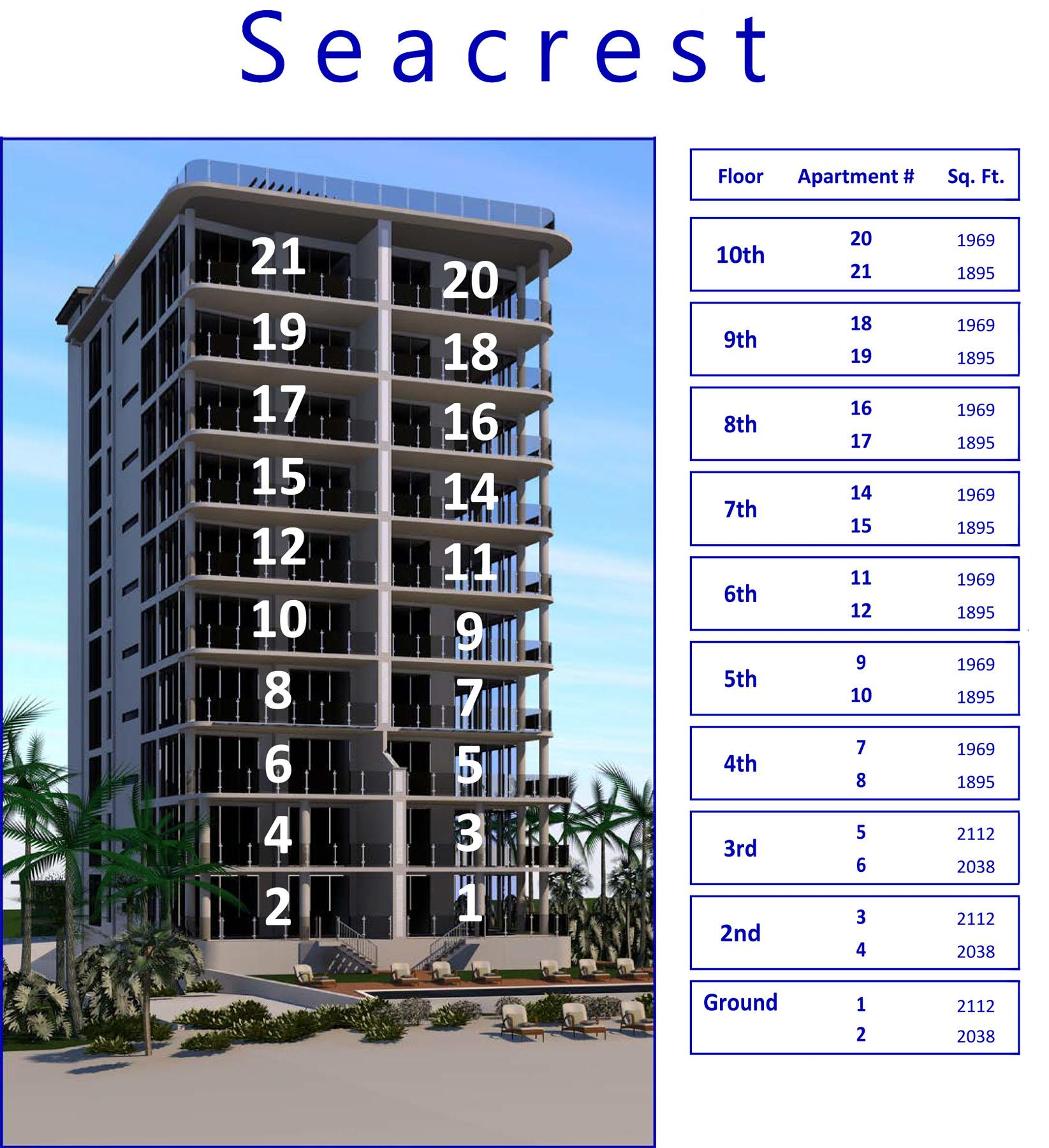 Drawing of Seacrest condos, Seven Mile Beach showing apartment numbers