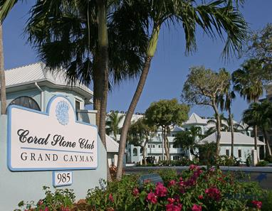 Sign at the front of Coral Stone Club reads: Coral Stone Club Grand Cayman 985