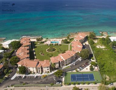 Aerial view of George Town Villas looking west over Seven Mile Beach and Caribbean Sea