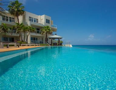 View across SeaView pool towards Caribbean Sea