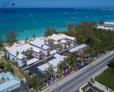 Aerial view from over West Bay Road of The Avalon on Seven Mile Beach