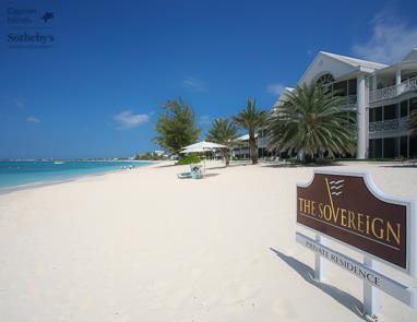 Seven Mile Beach and Caribbean Sea in front of The Sovereign